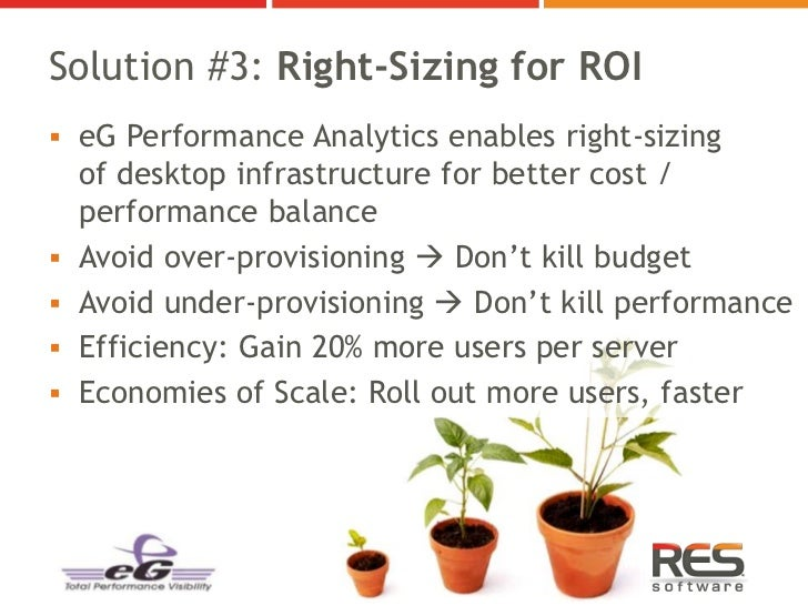 Solution #3: Right-Sizing for ROI eG Performance Analytics enables right-sizing    of desktop infrastructure for better c...