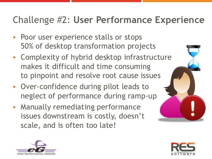 Challenge #2: User Performance Experience Poor user experience stalls or stops  50% of desktop transformation projects C...