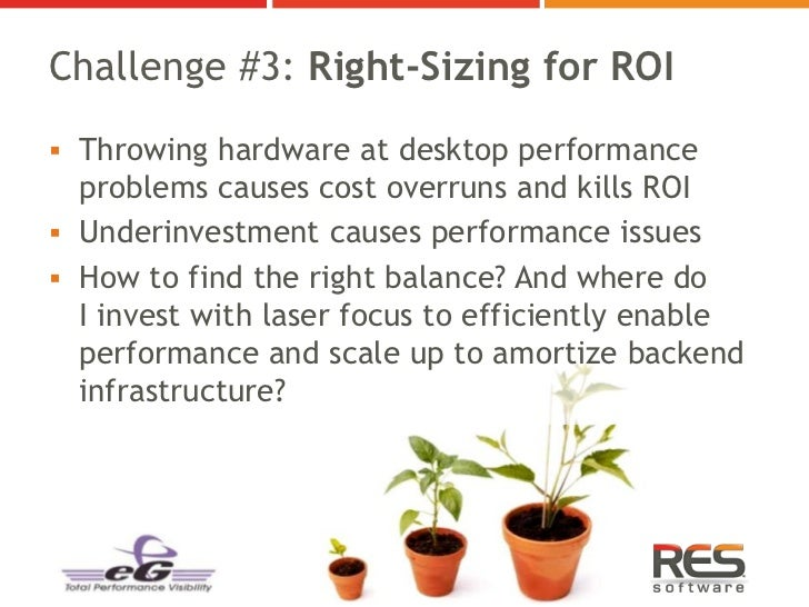 Challenge #3: Right-Sizing for ROI Throwing hardware at desktop performance  problems causes cost overruns and kills ROI...