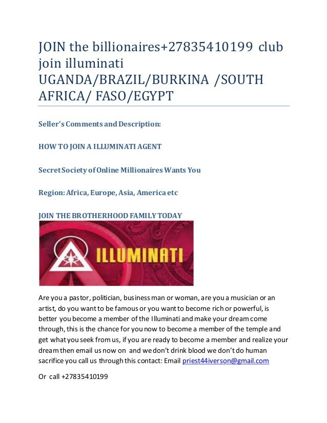 Join the billionaires club illuminati and get rich, power, famous, fa…