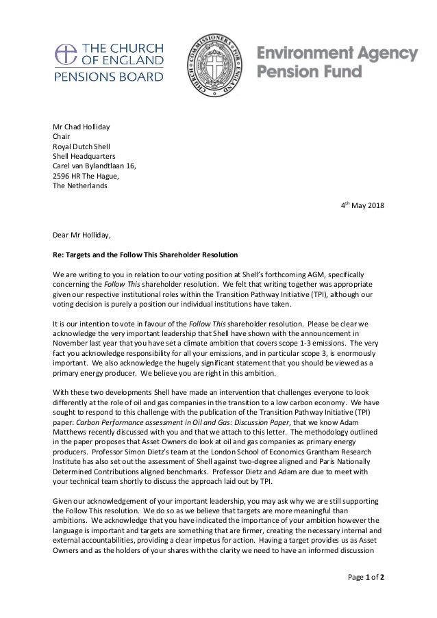 Page 1 of 2 Mr Chad Holliday Chair Royal Dutch Shell Shell Headquarters Carel van Bylandtlaan 16, 2596 HR The Hague, The N...