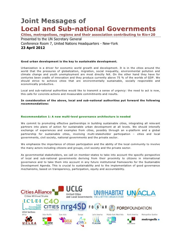 Joint Messages ofLocal and Sub-national GovernmentsCities, metropolises, regions and their association contributing to Rio...