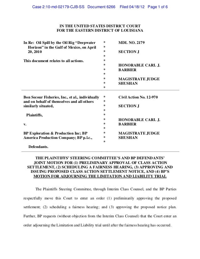Case 2:10-md-02179-CJB-SS Document 6266                 Filed 04/18/12 Page 1 of 6                      IN THE UNITED STAT...