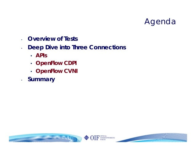 Agenda • Overview of Tests • Deep Dive into Three Connections • APIs • OpenFlow CDPI • OpenFlow CVNI • Summary