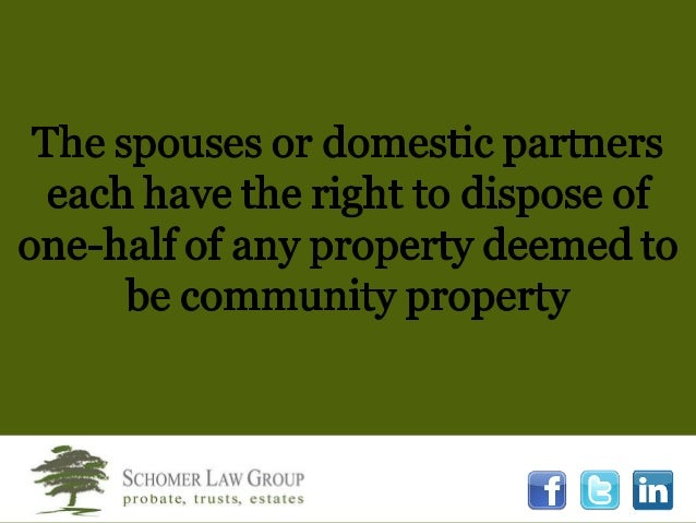 Registered Domestic Partners California Community Property