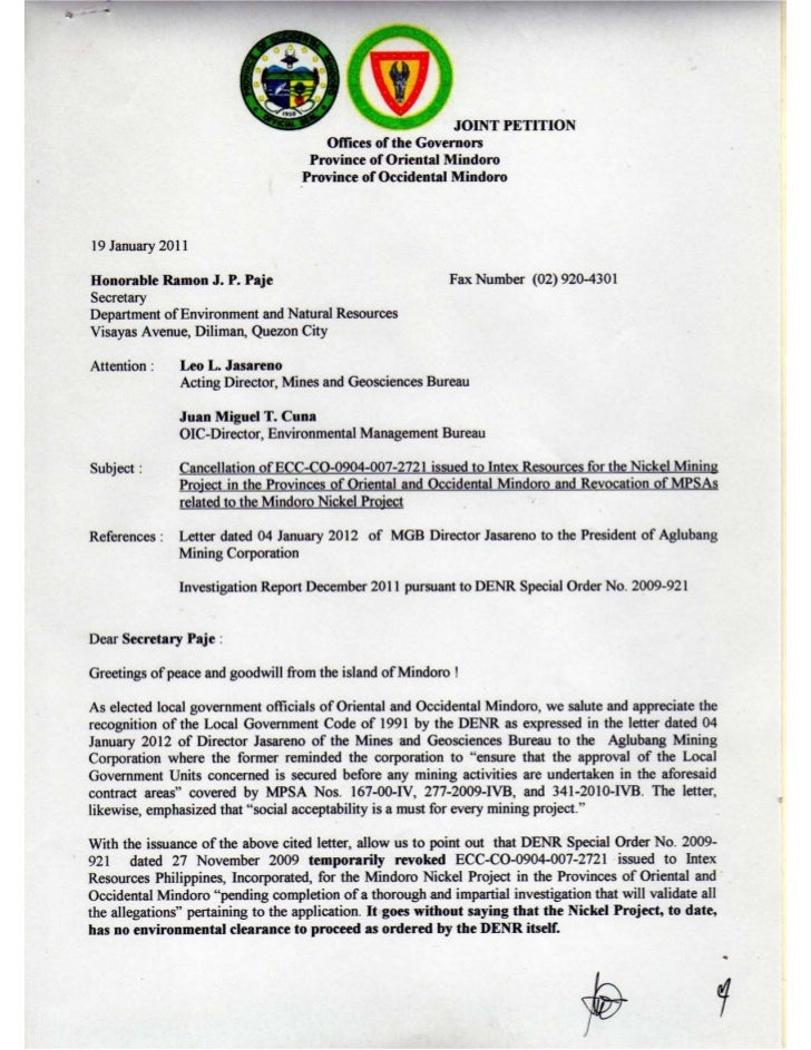 Joint Petition to_Sec_Paje_DENR_19_Jan_2011