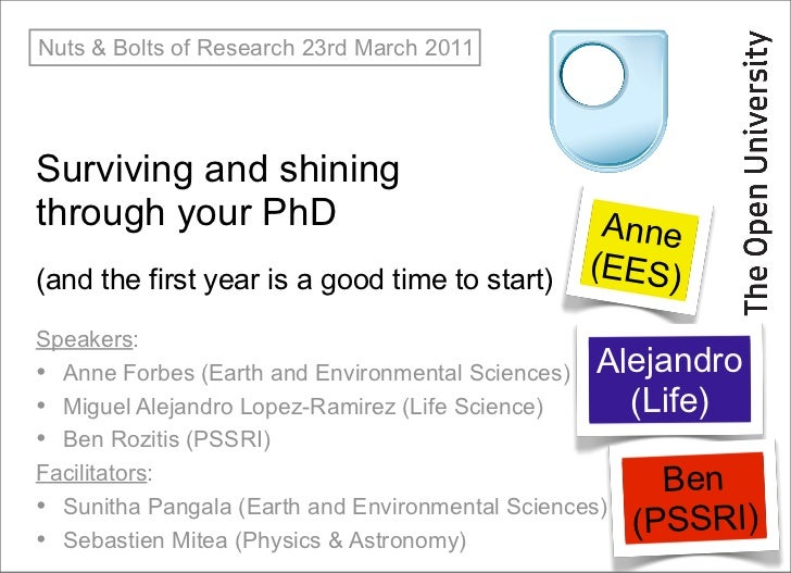 Nuts & Bolts of Research 23rd March 2011Surviving and shiningthrough your PhD                                Anne(and the ...