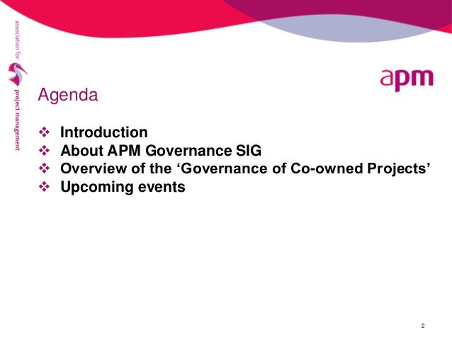 Joint projects and the governance conundrum webinar, 27 January 2017 Slide 2