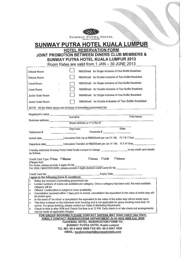 HOTEL RESERVATION FORM: JOINT PROMOTION BETWEEN DINERS