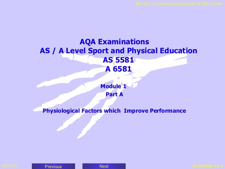 AQA AS / A Level Physical Education AS 5581 A 6581                     AQA Examinations           AS / A Level Sport and P...