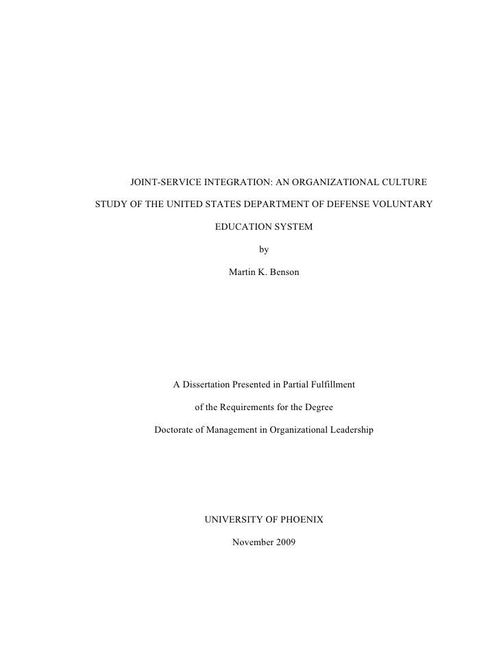 JOINT-SERVICE INTEGRATION: AN ORGANIZATIONAL CULTURE  STUDY OF THE UNITED STATES DEPARTMENT OF DEFENSE VOLUNTARY          ...