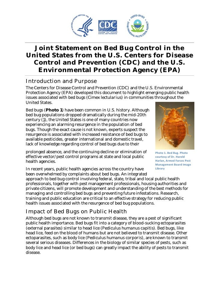 Joint Statement on Bed Bug Control in the US