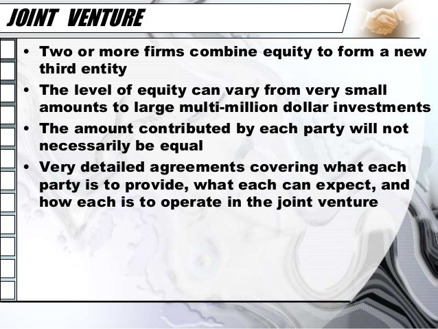 joint venture essay Joint venture is an opportunity to boost businesses and continues to occur in more countries every international joint venture starts with different cultures and because of its multicultural nature it is unavoidable to experience disagreements.