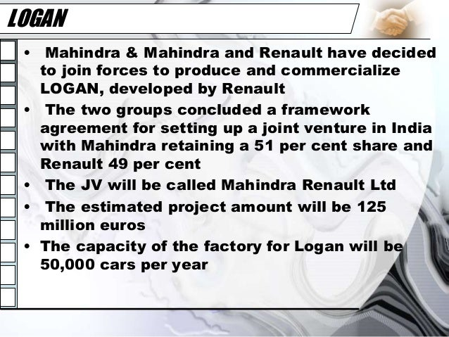 Joint Venture Between Mahindra And Renault Marketing Essay