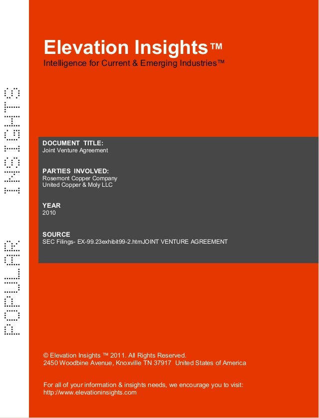 Elevation Insights™ | Joint Venture Agreement  Rosemont Copper, United Copper & Moly final