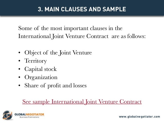 INTERNATIONAL JOINT VENTURE CONTRACT Contract Template and Sample – Joint Venture Sample