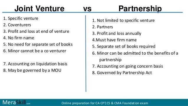 joint venture vs partnership