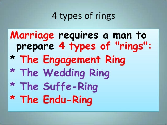 """4 types of rings Marriage requires a man to prepare 4 types of """"rings"""": * The Engagement Ring * The Wedding Ring * The Suf..."""
