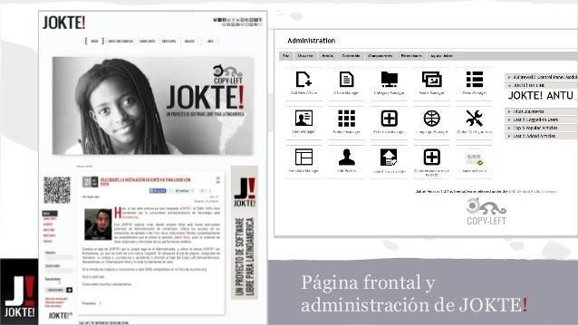Página frontal y  administración de JOKTE!