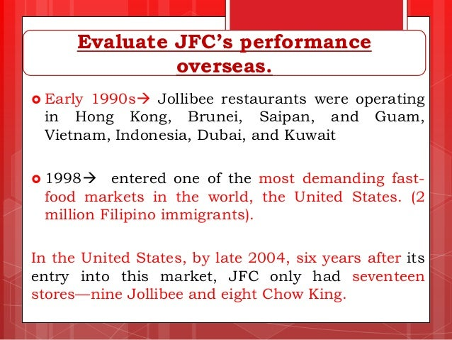 reaction paper on jollibee food chain Local chains take on coffee giants  partly because of the established dominance of local chains owned by jollibee foods  ministop and 7-eleven have also expanded into cooked food these.