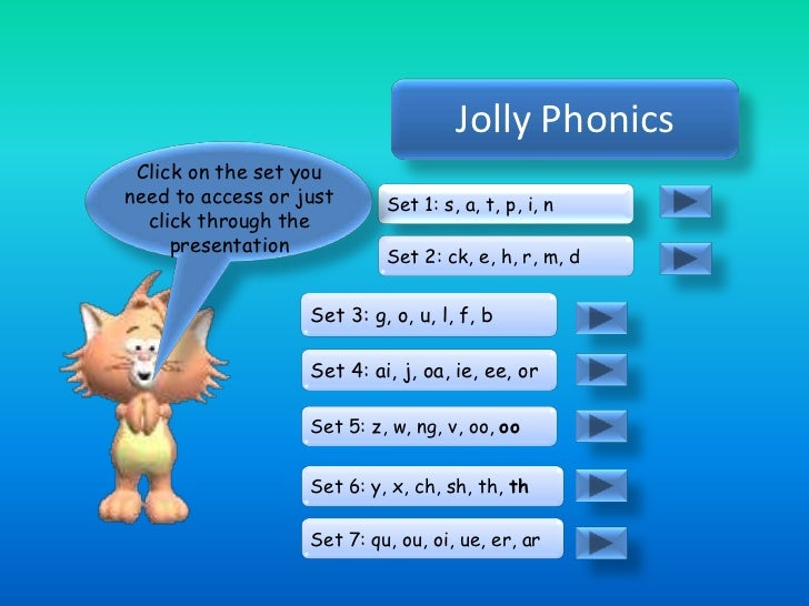 Jolly Phonics Click on the set youneed to access or just      Set 1: s, a, t, p, i, n  click through the     presentation ...