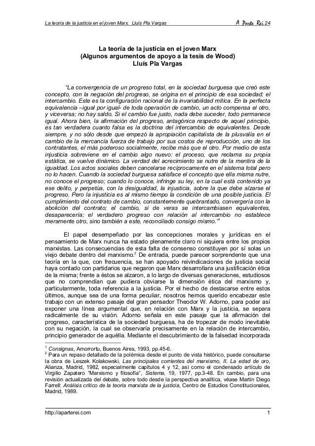 La teoría de la justicia en el joven Marx. Lluís Pla Vargas  A Parte Rei 24  La teoría de la justicia en el joven Marx (Al...