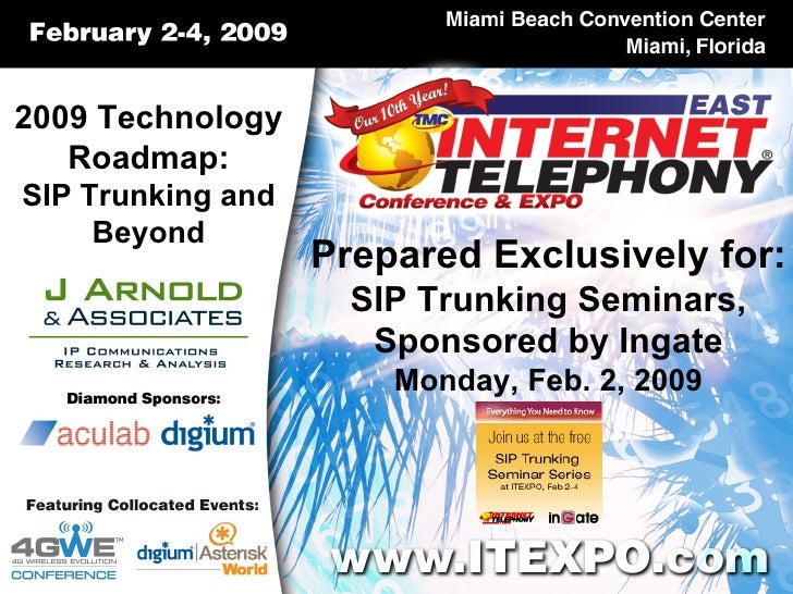 2009 Technology Roadmap: SIP Trunking and Beyond Prepared Exclusively for: SIP Trunking Seminars, Sponsored by Ingate Mond...