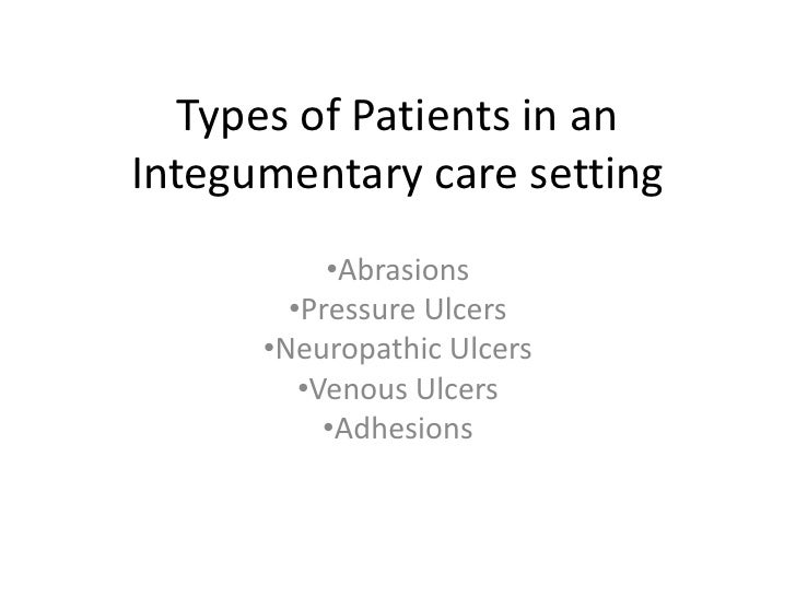 Types of Patients in an Integumentary care setting<br /><ul><li>Abrasions