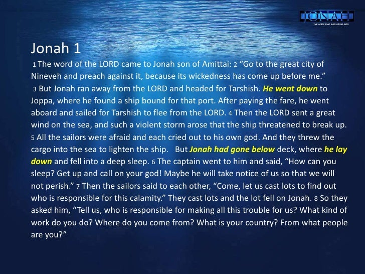 a study of the book of jonah Read and study jonah in the original language with the interlinear study bible on studylightorg.