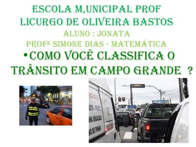 Escola m,unicipal prof licurgo dE olivEira bastos aluno : jonata profª simonE dias - matEmática  •como você classifica o t...