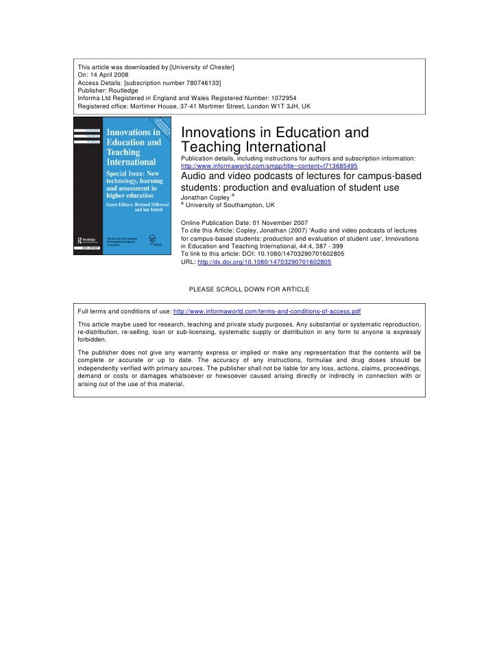 This article was downloaded by:[University of Chester] On: 14 April 2008 Access Details: [subscription number 780746133] P...