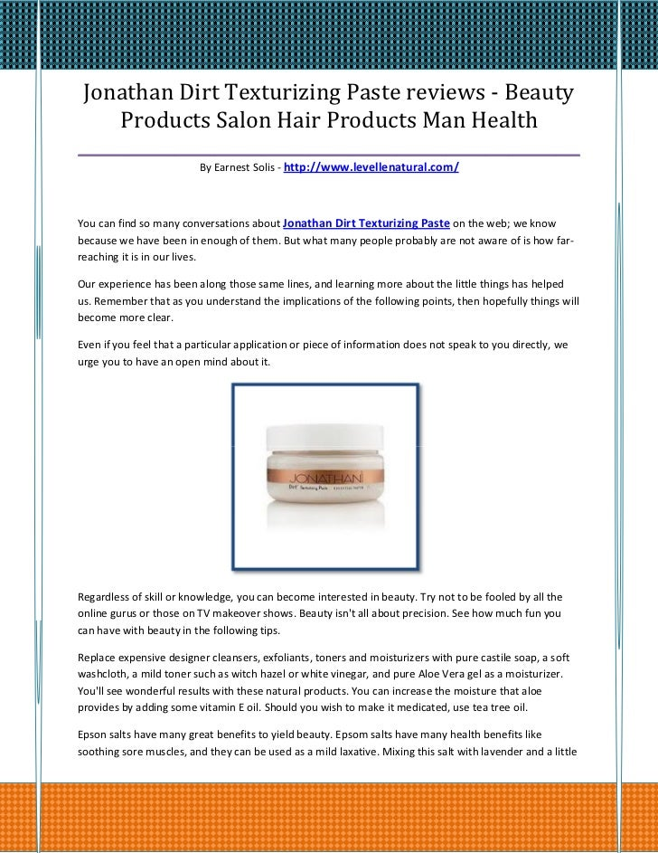 Jonathan Dirt Texturizing Paste reviews - Beauty    Products Salon Hair Products Man Health_______________________________...
