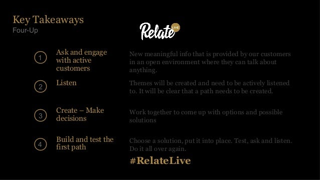 #RelateLive Key Takeaways Four-Up Ask and engage with active customers New meaningful info that is provided by our custome...
