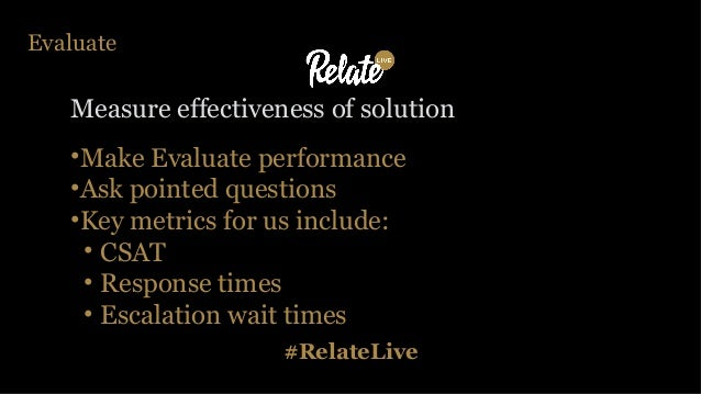 #RelateLive Evaluate Measure effectiveness of solution •Make Evaluate performance •Ask pointed questions •Key metrics for ...