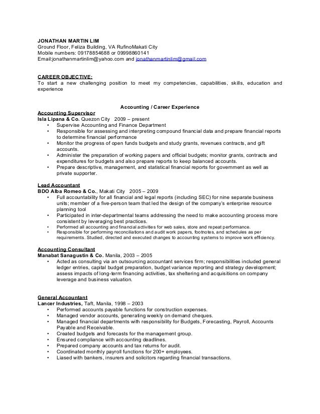 Accounting And Finance Resume