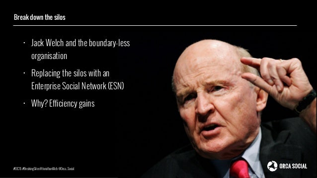• Jack Welch and the boundary-less organisation • Replacing the silos with an Enterprise Social Network (ESN) • Why? Effic...