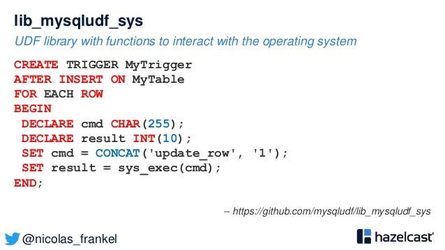 @nicolas_frankel lib_mysqludf_sys UDF library with functions to interact with the operating system CREATE TRIGGER MyTrigge...