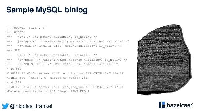 @nicolas_frankel Sample MySQL binlog ### UPDATE `test`.`t` ### WHERE ### @1=1 /* INT meta=0 nullable=0 is_null=0 */ ### @2...