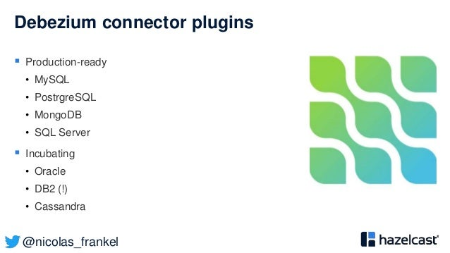 @nicolas_frankel Debezium connector plugins  Production-ready • MySQL • PostrgreSQL • MongoDB • SQL Server  Incubating •...