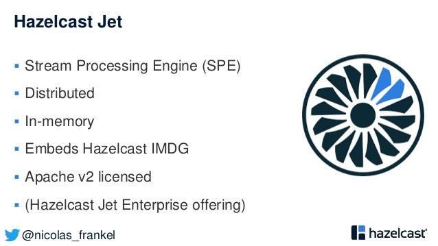 @nicolas_frankel Hazelcast Jet  Stream Processing Engine (SPE)  Distributed  In-memory  Embeds Hazelcast IMDG  Apache...