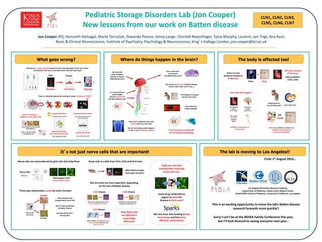 CLN1, CLN2, CLN3, CLN5, CLN6, CLN7 Pediatric Storage Disorders Lab (Jon Cooper) New lessons from our work on Batten diseas...