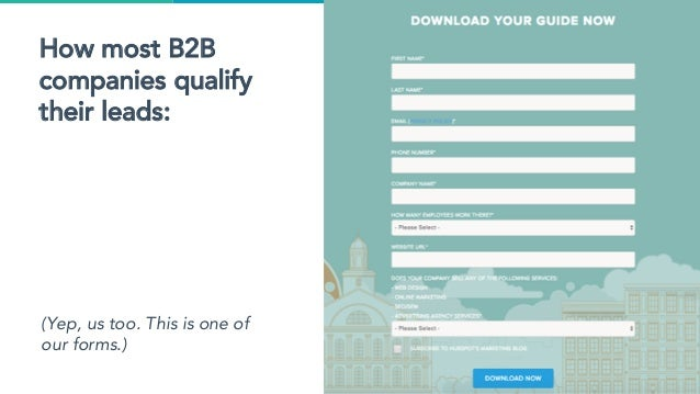 How most B2B companies qualify their leads: (Yep, us too. This is one of our forms.)