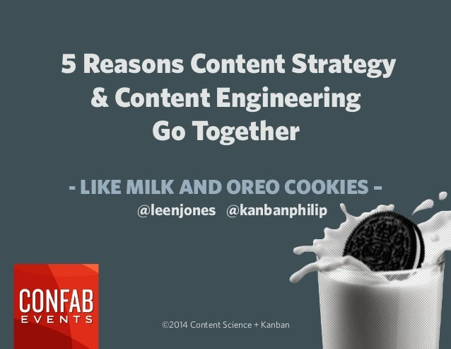 5 Reasons Content Strategy & Content Engineering Go Together - LIKE MILK AND OREO COOKIES – ©2014 Content Science + Kanban...