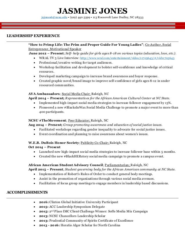 jones jasmine full resume