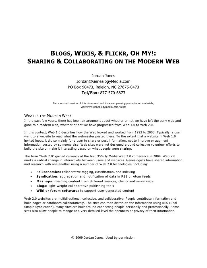 BLOGS, WIKIS, & FLICKR, OH MY!:   SHARING & COLLABORATING ON THE MODERN WEB                                             Jo...