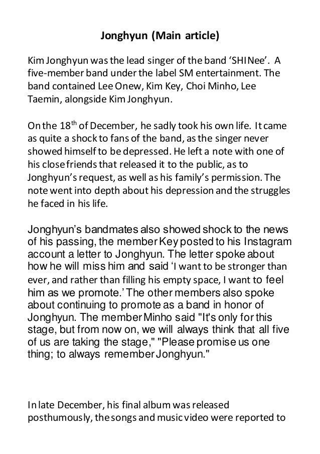 Jonghyun article second draft
