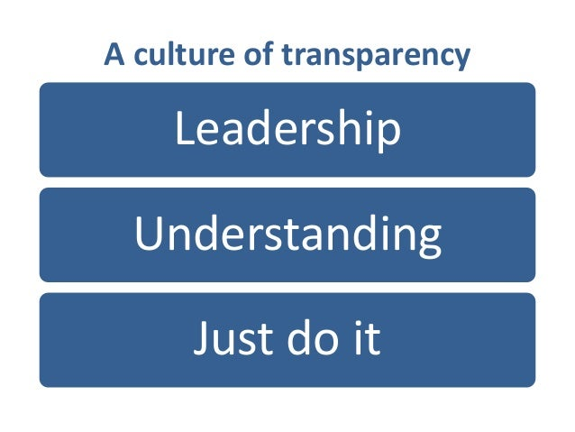 A culture of transparency Leadership Understanding Just do it
