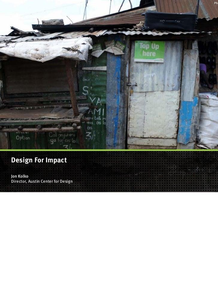 Photo By Michael CetarukDesign For ImpactJon KolkoDirector, Austin Center  For Design ...