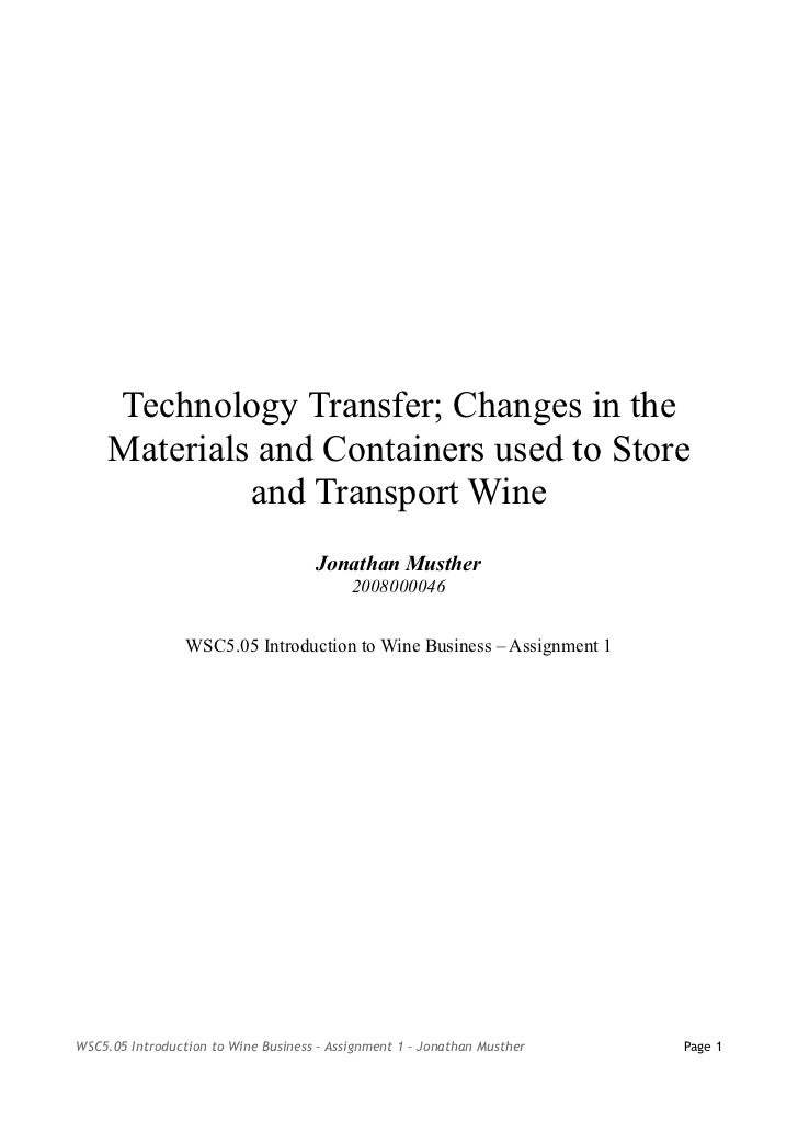 Technology Transfer; Changes in the     Materials and Containers used to Store              and Transport Wine            ...