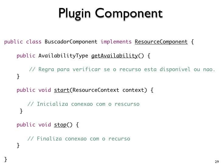 Plugin Component public class BuscadorComponent implements ResourceComponent {      public AvailabilityType getAvailabilit...